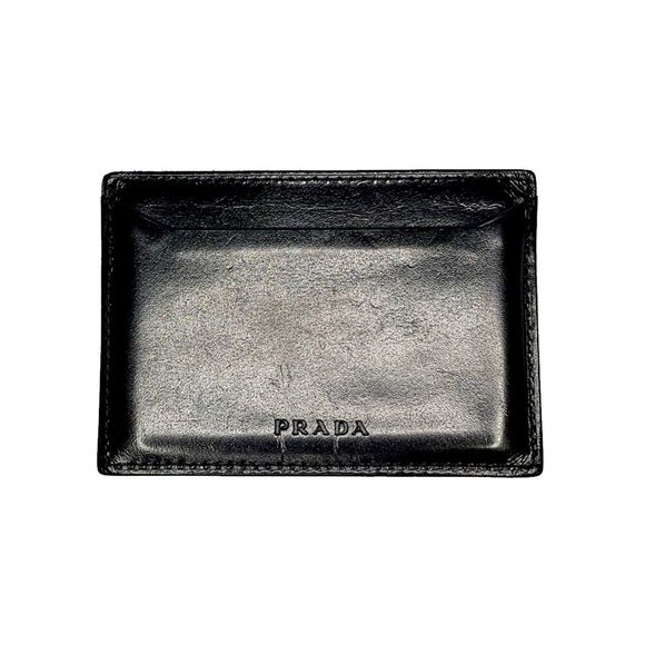 Prada Other - PRADA Vintage Black Smooth Leather Card Case